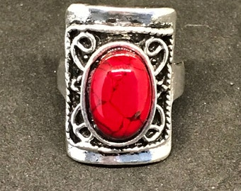 Man-made Red Oval Turquoise in a Silver-plated Large Square Ornate Setting Ring
