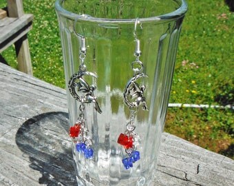 Patriotic Fairy Earrings, Fairy Charm Earrings with Red, White and Blue Crystal