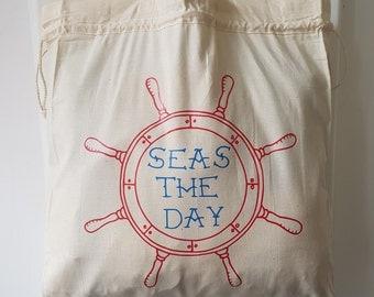 SALE! Seas the Day Tote Bag - Summer bag, Ships wheel, Nautical tote bag, Large tote, Beach Bag, Nautical Tote Bag, Cotton Bag