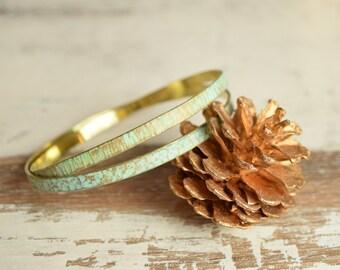 Patina Bracelet, Verdigris Bangle, Stacking Cuffs, Patina Jewelry, SET of 2, Wire Bracelet, Wire Wrap, Green Cuff, Old Bracelet