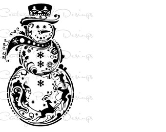 Snowman with Santa & Reindeer SVG / JPEG / PNG /pdf / Silhouette Studio and Cricut Design Space - Commercial Use - Adult Coloring Page