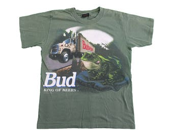95 Budweiser Beer King of Beers Vintage Tee - Vintage 90s Budweiser Frogs and Trucks Double sided Tshirt - M