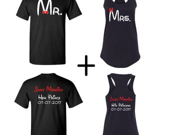 Ladies racerback with Men's T-shirt, Newlywed shirts, Disney couples shirts, Just married shirts, Prince and Princess shirts
