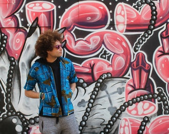 Short Sleeve Jacket - Cherno Jacket - Festival Shirt - Wax Jacket - Festival Clothing - African Clothing - Festival Jacket - Shirt Jacket