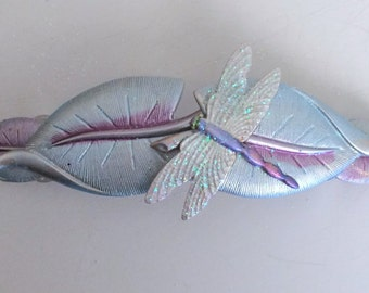 Hair Barrette Dragonfly, Blue leaves and Dragonfly with sparkle wings French Barrette