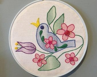 Blue Bird of Spring Handstitched Embroidered Hoop Art