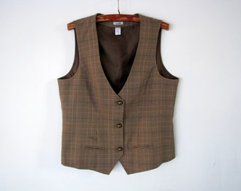 Ladies vest Checkered casual retro waistcoat Light brown and purple country outfit Xl size US-12 EU-42 AUS-16 size Brown sleeveless jacket