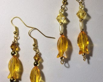 Orange Fish Earrings on Gold Wires