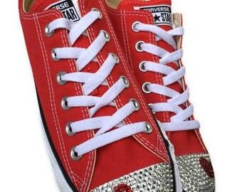 Low Top Custom Converse Heart Bling Shoes. Weddings, Bar & Bat-Mitzvahs. Prom, Sweet 16, Dress Shoes. Mom Gift, Wife Gift, Girlfriend Gift