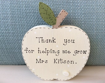 Teacher Gift - Personalised Teacher Gift, Teacher Apple, Thank You Teacher, End Of Term Gift.