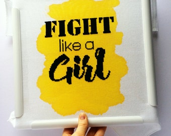 Fight like a girl // Modern cross stitch kit with hand painted fabric // Charity, Endometriosis, Feminism,  Chronic illness, Evenweave, Aida