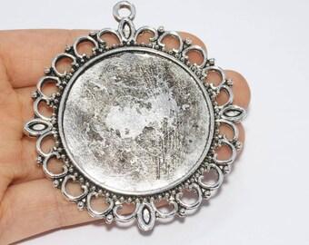 70mm  Antique Silver Pendant Tray, Bezel Settings, Cabochon Tray,SKU/TR13