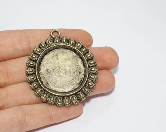 45mm Antique Gold Pendant Tray, Bezel Settings, Cabochon Settings,SKU/TR24