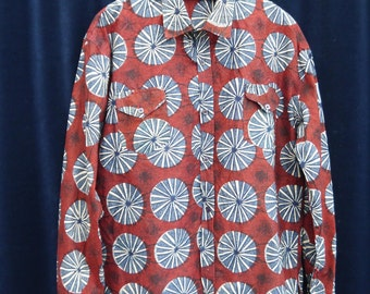 70s shirt 70s Vintage shirt burgundy red Men's African wax dots print shirt long sleeve Dashiki Festival Folk Ethnic Boho Hippie L XL / C