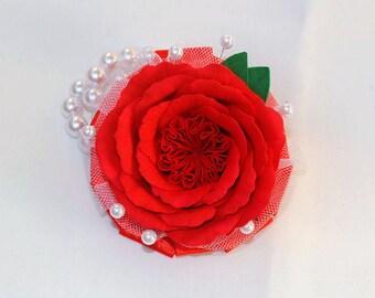 Red rose wrist corsage Flower rose corsage  Flower rose accessory Flower bracelet red flower corsage Foam flower