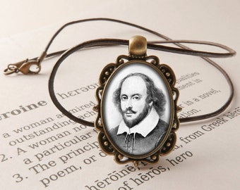Shakespeare Pendant Necklace - William Shakespeare Jewelry, Literary Gift, Shakespeare Necklace, Shakespeare Gift, Shakespeare Jewellery