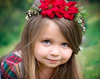 Eve floral Crown-Christmas crown-Bridal Crown-Poinsettia Crown-Christmas flower crown-Christmas photo shoot-Winter floral crown
