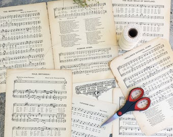 Vintage Sheet Music for crafting, International Songs