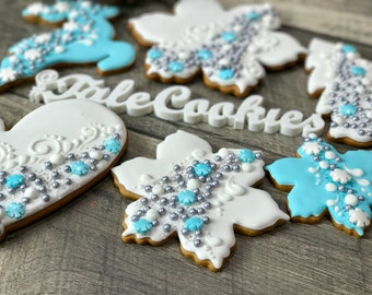 Tiffany Blue Christmas Cookies(12)- Christmas Ornament cookies, New Year cookies, Chrismas Cookies, Happy Holiday cookies, Gingerbread house