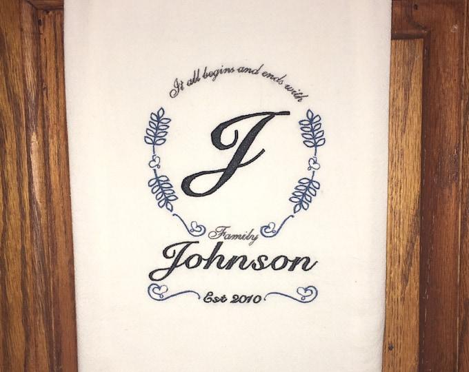 Embroidered monogrammed flour sack kitchen dish towel - family, anniversary gift, wedding present, home decor, kitchen decoration, tea towel