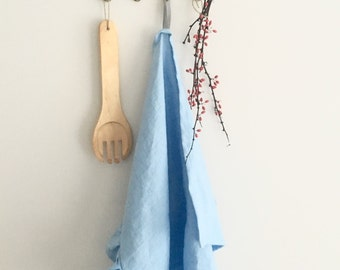 Ruffled sky blue washed linen tea towel, dish towel, ruffled kitchen towel 17,7'' x 27,6'' (45x70cm)
