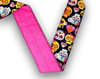 Sugar Skulls Black, Pink, & Yellow CrossFit Weight Lifting Wrist Wrap with Pink Back
