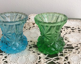 Set of Vintage Taper Glass Candle Holders