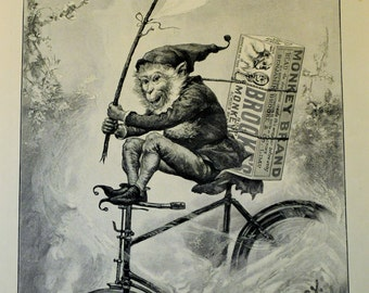 Brooke's Monkey (riding a bicycle) Brand Soap Engraving  from The Illustrated London News Christmas Issue 1898 Ad