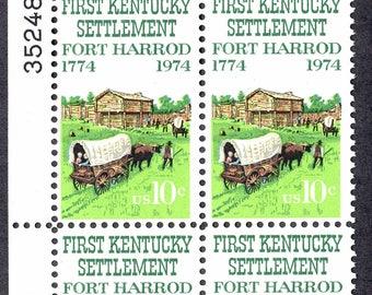 1974 Kentucky Settlement Fort Harrod Postage Stamps Unused Block