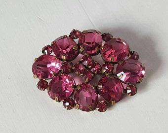 Stunning Pink Open Back Czech Czechoslovakian Vintage Glass Brooch. Circa 1940s