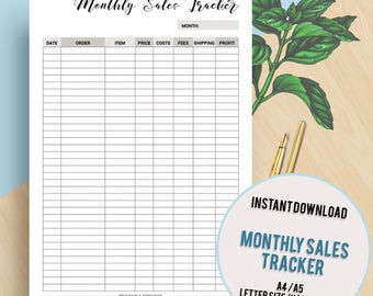 Monthly Sales Tracker, Printable Planner, Business Tracker, Business Planner, Sales Tracker, Pdf,A4, A5, US Letter, Half Size, Inserts