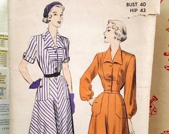 1949 Advance 5087 Shirtwaist Dress With Pockets B40 H43 Sewing Pattern UNCUT Retro!