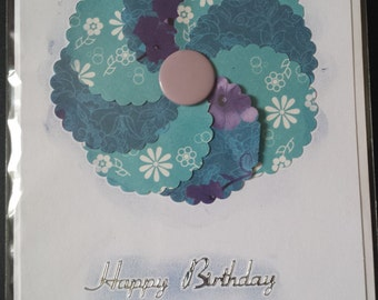 Birthday Flower card Blue
