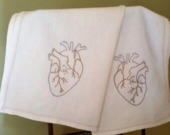 Anatomical Heart VIntage Flour Sack Towel