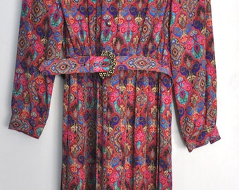 Vintage 80s print dress, colorful polyester dress with long sleeves and pleated bottom, pattern dress, size 6 US Petite