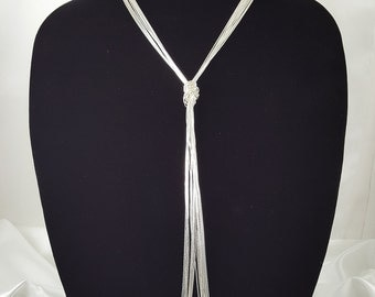 10 Strand Liquid Silver. Multifacetic Long Necklace. 925 Sterling Silver Jewelry. Gift for Her.