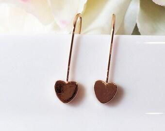Heart Drop Earrings, Rose Gold Dangle Earrings, Gold Heart Earrings,Minimalist Earrings, Rose Gold Love Earrings, Dainty Rose Gold Earrings,