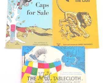 Vintage Scholastic Books, Early 1970s, Caps for Sale, Andy and the Lion, The Magic Tablecloth, K-2 Classic Illustrated Children's Books