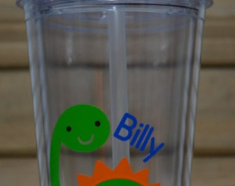 Personalized Green Dinosaur Kids Tumbler Straw Cup! Dinosaur Cup- Green Dinosaur- Dino Cup- Green Dino Cup!