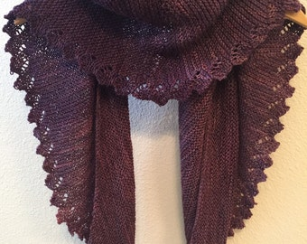 Hand Knitted Lace Edge Shawl