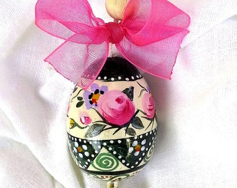 Hand painted wooden Easter Egg-decorating-hang-collectible-with wire and Bell