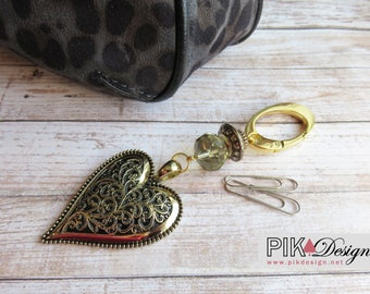 Handbag jewelry - fabulous big gold heart ornement for your purse or for a gift - PCS515
