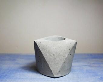 Concrete mini planter - polygon - Gray Cement