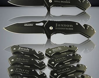 12 Personalized Knifes - 12 Groomsmen gifts - Officiant gift - Best Man & Groomsmen engraved tactical knife - Wedding gift set