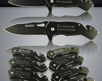 13 Personalized Knifes - 13 Groomsmen gifts - Officiant gift - Best Man & Groomsmen engraved tactical knives - Wedding gift set