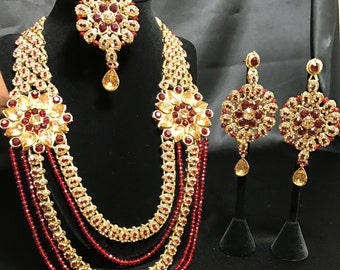 Indian Bridal Set - Red Maroon Bridal Set - Imitation Jewelry - Wedding Jewelry - Statement Jewelry - Tikka - Earrings - Kundan Bridal