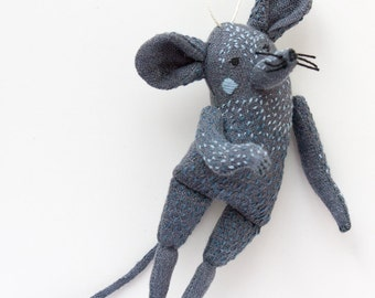 The Gray Mouse. Textile doll, embroidery doll