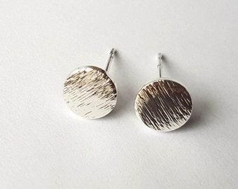 Circle Stud Earrings | Circle Studs | Circle Earrings | Silver Circle Studs |Minimalist Earrings | Geometric Earrings | Brushed Circle Studs