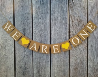 WE ARE ONE banner, twins birthday banner, twins first birthday banner, twins birthday photo prop, twins birthday ideas, first birthday sign