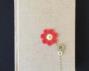 Hard Cover Button Flower Journal